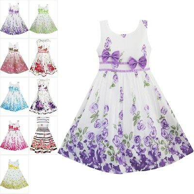 Girls Dress Floral Purple Rose Double Bow Tie Party Age 4-12 Sunny Fashion