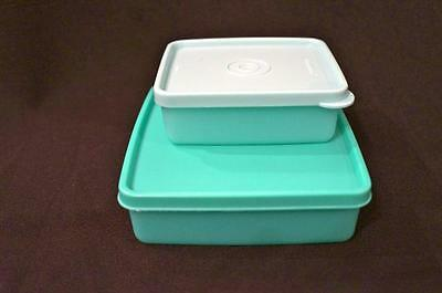 Two New Tupperware Square Rounds Sandwich Snack Set & Liquid Tight Seals - New