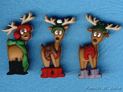 WHERE'S THE SLEIGH? - Funny Reindeer Christmas Novelty Dress It Up Craft Buttons