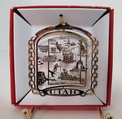 UTAH State Brass CHRISTMAS ORNAMENT Landmarks Souvenir Gift Salt Lake City Zion
