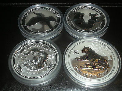 AUSTRALIA  .999  10oz.  BU FINE SILVER COIN  MIXED LOT (4)