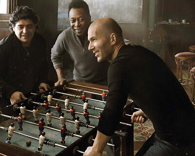 Pele Maradona and Zindane play Table Football 10x8 Photo
