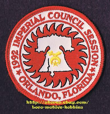 LMH PATCH Badge 1992 SHRINE TEMPLE Shriners IMPERIAL COUNCIL Orlando FL Liberty