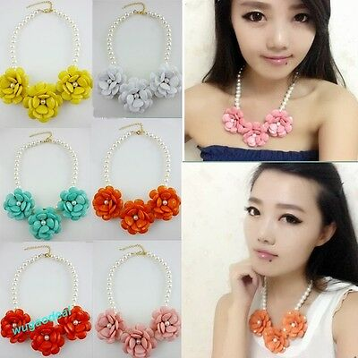 New Fashion Women Lady Pearl Resin 3PCS Flower Chain Necklace  6 Colors