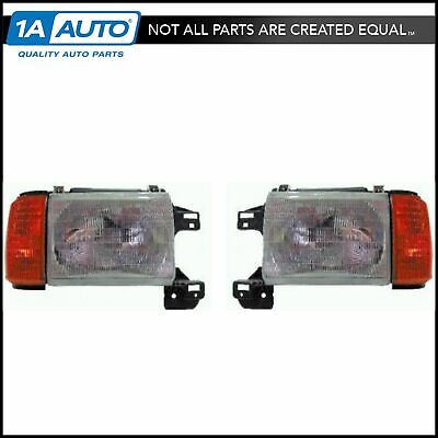 Headlights Headlamps Left & Right Pair Set for 87-91 Ford Bronco F-Series Truck