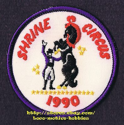 """LMH PATCH Badge 1990 SHRINE CIRCUS  Shriners HORSE TRAINER Standing Trick 3-1/8"""""""