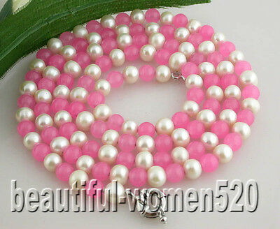 """beautiful 40"""" 9mm nature round pink jade white pearl necklace"""