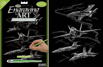 Jet Planes Fighters Army A4 Silver Scraper Foil Engraving Art Kit & Tool Silf25