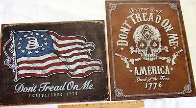 Dont Tread On Me Tin Sign LOT OF 2 Second Amendment  America Gun Wall Decor USA