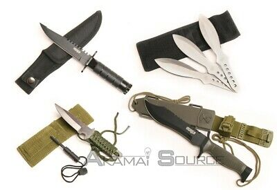 4pc Combo Knife Set Survival Hunting Throwing Knives Fire Starter Tool Doomsday