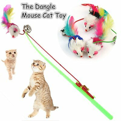 1x For Pet Cat Bell The Dangle Faux Mouse Rod Roped Funny  Play Playing Toy TR