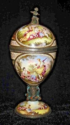 Rare Antique Early 19Th Vienna Austrian Hermann Boehm Enamel On Silver Urn Vase