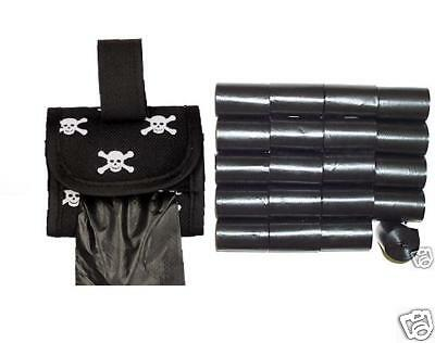 1000 Blk Pet Dog Waste Poop Bags/ Skull & Bone Dispenser