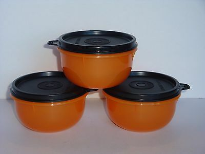 Tupperware Snack Bowls ~Halloween~ Orange w/ Black Seals Set of 3 BPA-Free NEW
