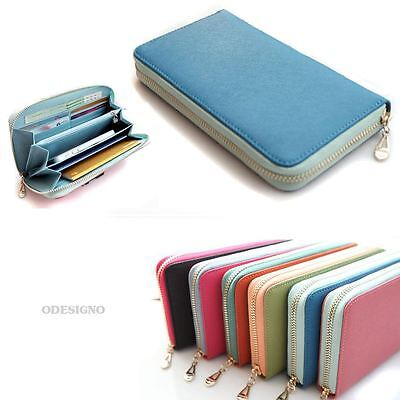 Genuine leather women's zip around wallet purse lady colorful zip wallets