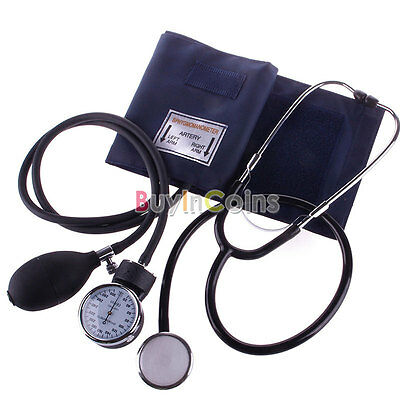 Blood Pressure Stethoscope Meter Aneroid Monitor Cuff Sphygmomanometer Practical