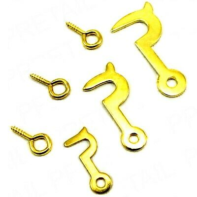 Side Hooks And Eyes With Screw Brassed Catch Fastener 25mm Door Lid Latch
