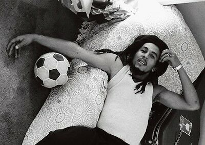 Bob Marley Awesome on Bed BW POSTER
