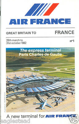 Airline Timetable - Air France - 28/03/82 - Great Britain Ed Paris CDG Cover - S