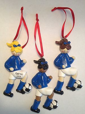 Personalized Soccer Girl Sports Christmas Ornament
