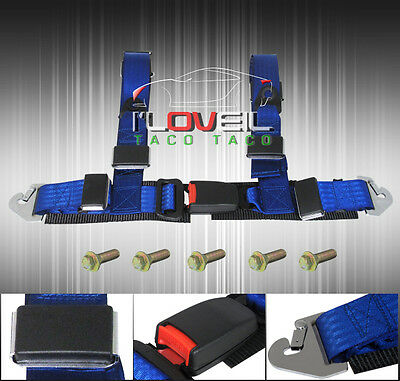 """2"""" Jdm Blue Race Drifting Four Point Harness Racing Seat Belt + Snap On Buckle"""