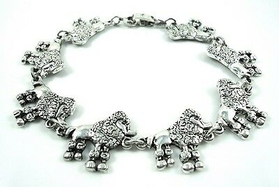 8.25  inch  cute Poodle Lovers antique silver plated Bracelet 21 cm