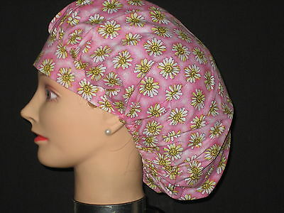 Surgical Scrub Hats/Caps  Bright Pink with White Daiseys   Spring Summer
