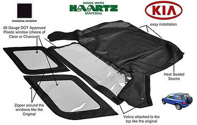 KIA SPORTAGE 1996 - 2002 Convertible Soft Top Replacement (Charcoal Window)