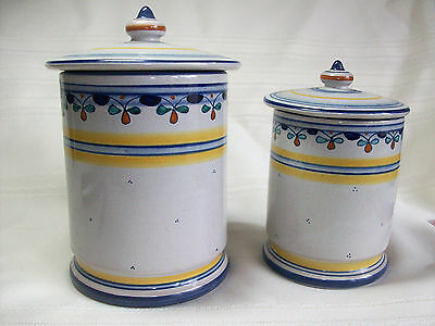 """PAIR OF HAND PAINTED CANISTERS - 5.75"""" AND 6.75"""""""