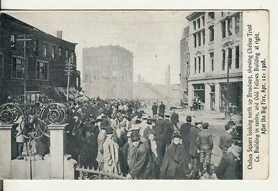 Fraternal -- ODD FELLOWS BLDG, Chelsea Square, MA, after 1908 FIRE, postcard