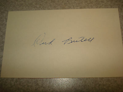 Dick Bartell Autograph Index card Rare 3X5 Signed VINTAGE AUTO