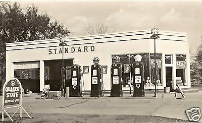1  5x7 STANDARD OIL RED CROWN WHITE CROWN GAS SERVICE STATION QUAKER STATE sign