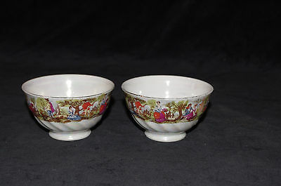 vintage French 1930 cafe au lait pair small marquis marquise bowls child cups