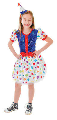 Girl Clown Dress & Headband Child Fancy Dress Cute Costume 3 Sizes
