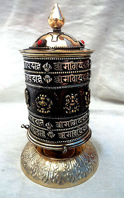 PW27 -  OM Mani 4 line with Astamangal Copper Table Prayer Wheel