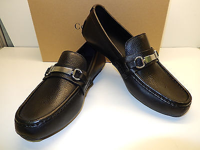 NEW COLE HAAN SOMERSET BIT II BLACK TUMBLED LEATHER DRIVING MOCS W. SILVER BIT