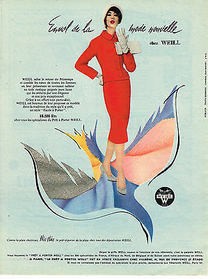 Publicite Advertising 1958 Meryl Tissus Pret à Porter Be Novel In Design Collectibles