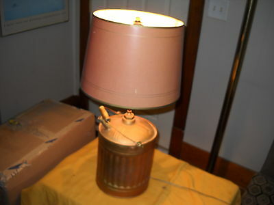 Vintage Mid Century Steampunk Industrial Gas Can Table Lamp Works Great Look :