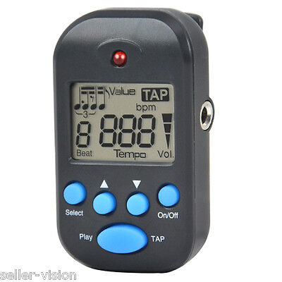Mini Black LCD Digital Multi Functional Beat Tempo Metronome Portable Earphone