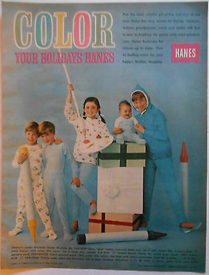 1963 vintage Christmas AD Hanes Pajamas for Children