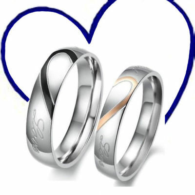 Stainless Steel Real Love Heart Couple Rings Necklace Engagement Wedding Band