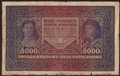 Poland 5000 Marek 1920, II Series W 026614, Pick - 31, F