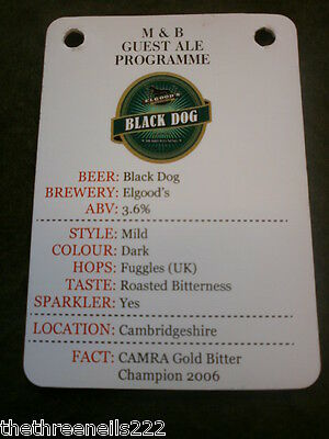 Beer Pump Clip Info Card - Elgood's Black Dog