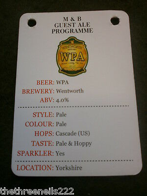Beer Pump Clip Info Card - Wentworth Wpa