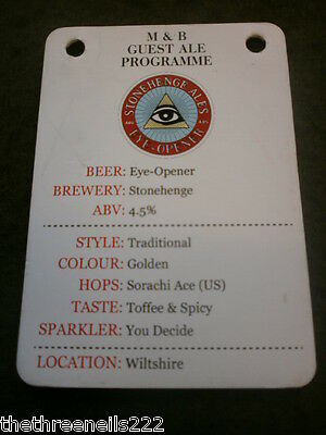 Beer Pump Clip Info Card - Stonehenge Eye-Opener