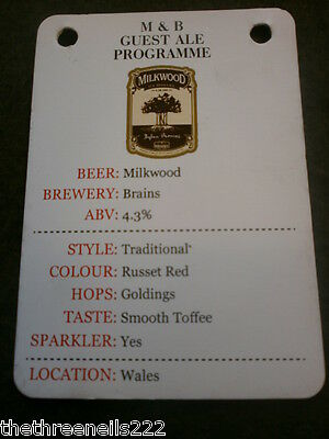 Beer Pump Clip Info Card - Brains Milkwood