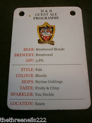 Beer Pump Clip Info Card - Brentwood Blonde