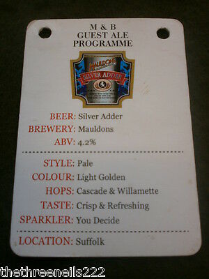 Beer Pump Clip Info Card - Mauldons Silver Adder