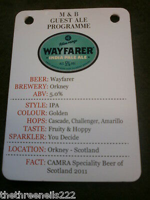 Beer Pump Clip Info Card - Orkney Wayfarer India Pale Ale