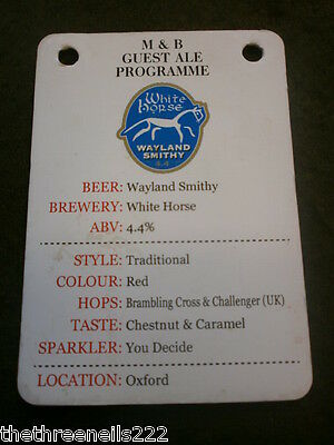 Beer Pump Clip Info Card - White Horse Wayland Smithy